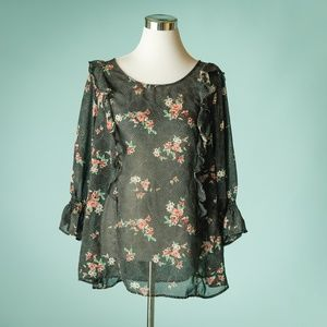 Torrid 2/2X Black Floral Dot Print Ruffled Top